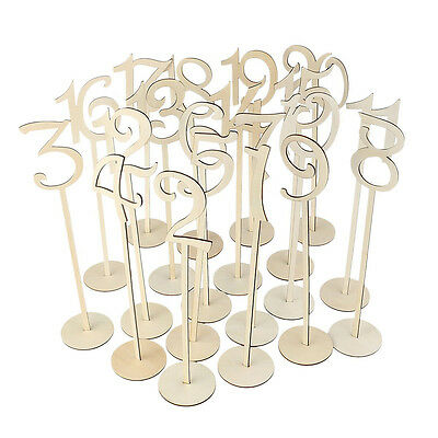 20Pcs Wood Table Numbers with Holder Base for Wedding Party Decoration Optimal