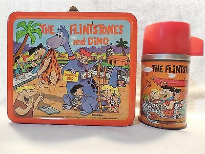 The Flintstones & Dino 1962 Aladdin Industries Metal Lunch Box w/Thermos Bottle