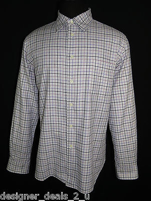 Corneliani Men's Long Sleeve Shirt_Italy_Gray w/Purple/Black Checks_Size  XL