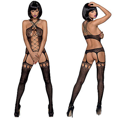 BLACK SEDUCTIVE Bodysuit BNWT Tights Catsuit Bodystocking Lingerie UK One Size
