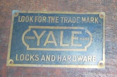 Antique Brass Sign Yale Locks And Hardware Look For The Trademark