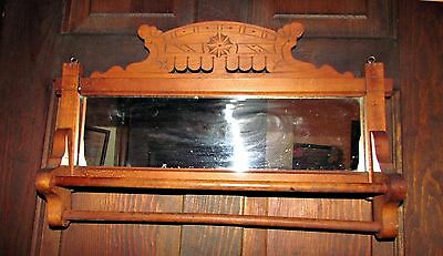 antique victorian  walnut wood carved towel rack with mirror