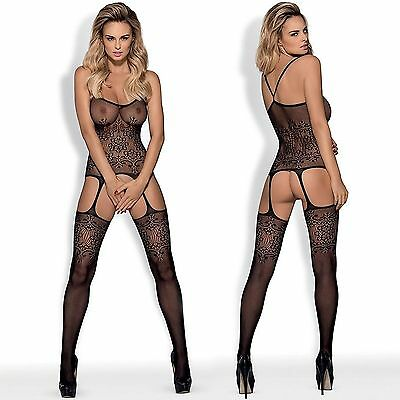 New Womens Lingerie CRUTCHLESS Bodystocking ONE SIZE Black Bodysuit Catsuit 218