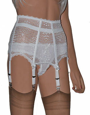 Boned 6 Strap Suspender Belt. All Lace High Waist Garter Belt in White or Black