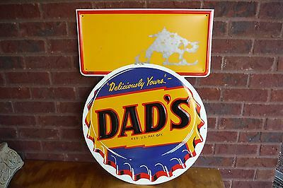 Vintage DAD'S Root Beer Bottle Cap Marquee Sign - Embossed Soda Country Store