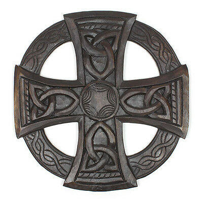 Hand Carved Large Round Celtic Sun Cross Plaque Fair Trade Wood