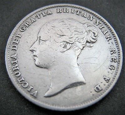 1857 Great Britain UK British Victoria Sixpence 6p 6d Silver ?VF Very Fine?