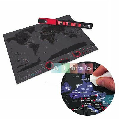 Deluxe Travel Edition Scratch World Map Poster Personalized Journal Log Gift【US】