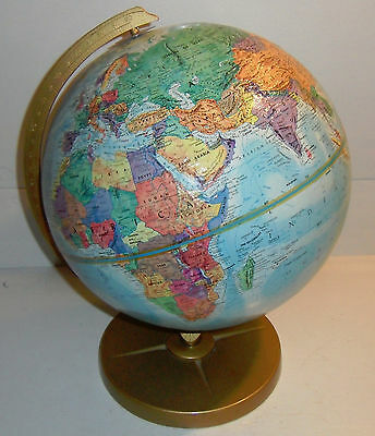 "Vintage Replogle 12"" World Nation Series Globe USSR Metal Stand Raised Relief"