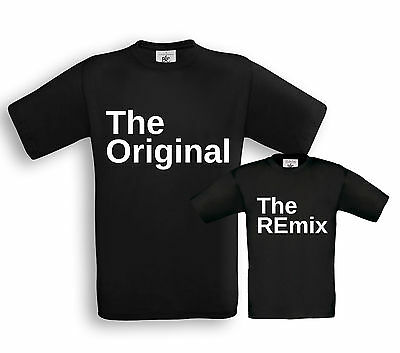 The ORIGINAL & The REmix - Vater / Sohn Partner Shirts - Papa Kind Taufe Familie