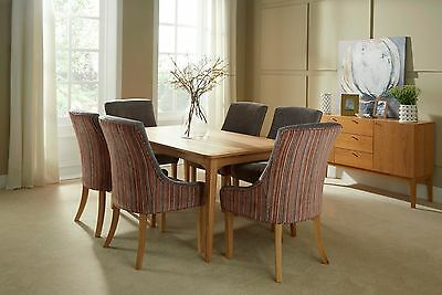 Dining Table Set 4 and 6 Chairs Wood Furniture for Modern Kitchen Solid Oak