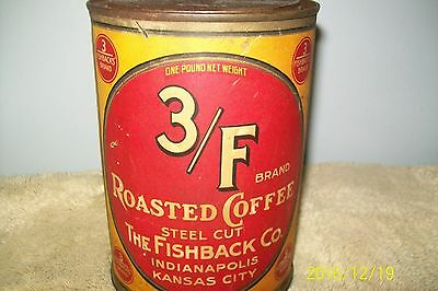 "Vintage 3/f Brand1 lb coffee tin original pry off lid 6 1/4"" x 4"" paper label"
