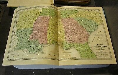 1839 Smith Geography Hand Colored Map of the Southern States NC SC TN GA FL MS