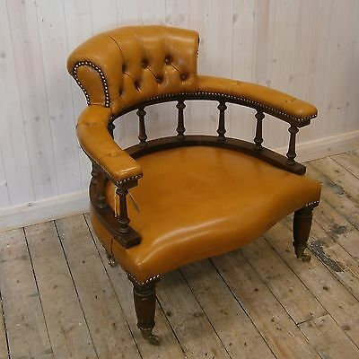 Antique Style Reproduction Leather Captains Tub Chair on Wheels