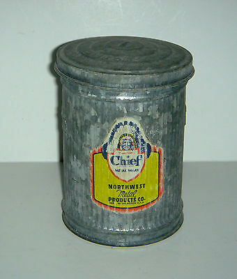 Vintage Galvanized Salesmen's Sample CHIEF Miniature Garbage Can NW Metal Prod.