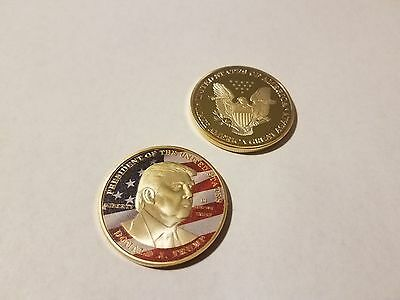 Gold Plated 45Th President Donald Trump Commemorative Coin Round 40Mm X 3Mm Case