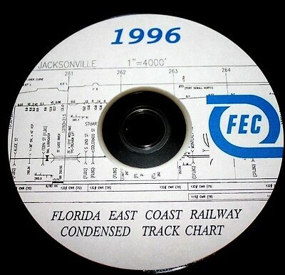 Florida East Coast Railway 1996 Condensed Track Chart PDF Pages on DVD