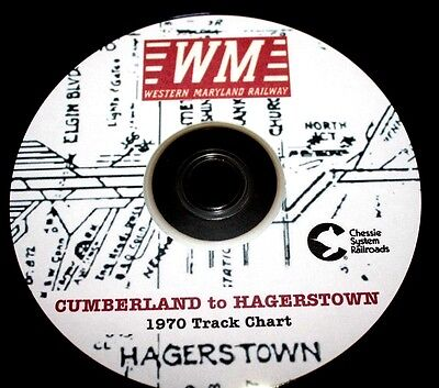 Western Maryland RR 1970 Cumberland to Hagerstown Track Chart PDF Pages on DVD