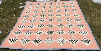 Antique Basket Of Diamonds Basket Of Flowers Quilt Salmon Red And Green 84 X 97