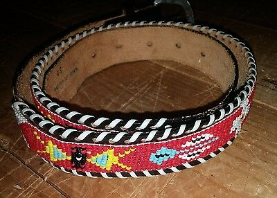 """Vintage Indian Native American Beaded Black Leather Belt Size 34"""" Silver Buckle"""