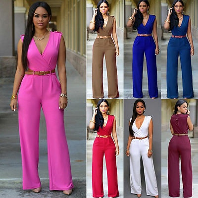 Women Ladies Clubwear V Neck Playsuit Bodycon Party Jumpsuit Romper Trousers