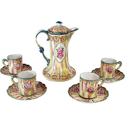 Hand-Painted Enameled Nippon Porcelain Chocolate Set - 1920's