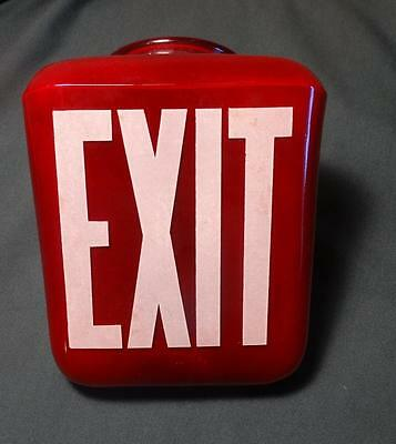 Scarce Vintage Red Glass Movie Theater Exit Glass Sign