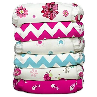 Charlie Banana Lot of 6 Cloth Diapers + 12 Insert Power Girl One Size NEW