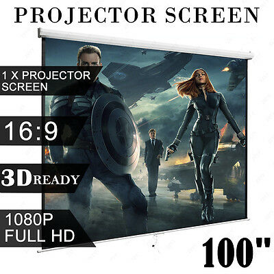 """100"""" 16:9 Manual Projection Screen Pull Down Projector Matte White Home Cinema"""