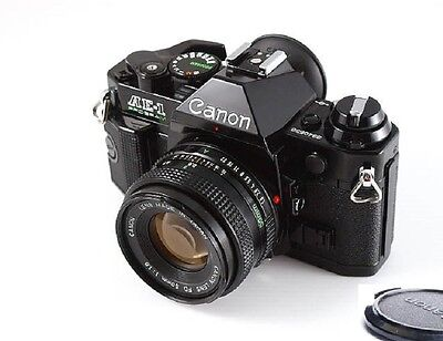 Canon AE-1 Program Camera Black Body with FD 50mm f1.8 Lens Excellent Condition!