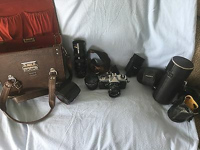 Fujica St 605 camera with 3 lens with cases  flash, and original case.
