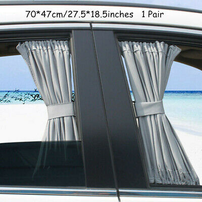 1 Pair 70*47cm Gray Adjustable Car Window Mesh Style Curtain UV Sunshade Visor