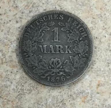 1876-A 1 Mark Germany German Empire Silver Coin