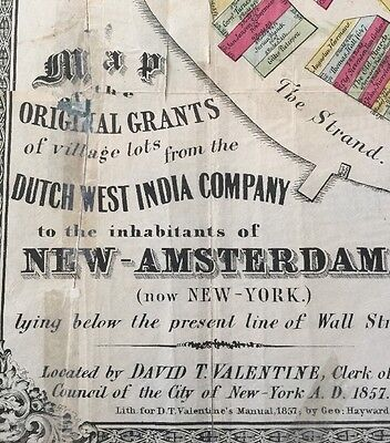 1857 Original Map Grants Dutch West India Company New York RARE Genealogy