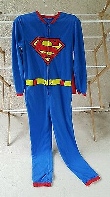 Adult SUPERMAN w/ CAPE One Piece Fleece  ONESIE Pajama  Unisex SMALL