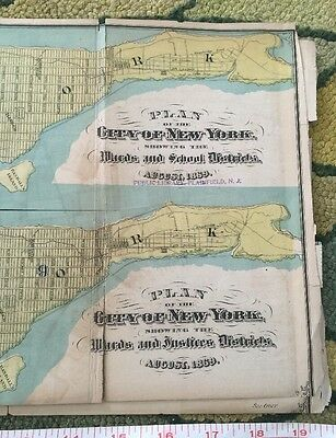 1869 Map Of NYC School Govt Districts Color Rare 2 Sided Political