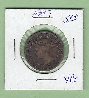 1887 Canadian Large Cent Coin - Queen Victoria - VG