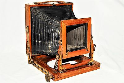 Wood Brass Unmarked 1/2 Plate Bellows Folding Camera c1900