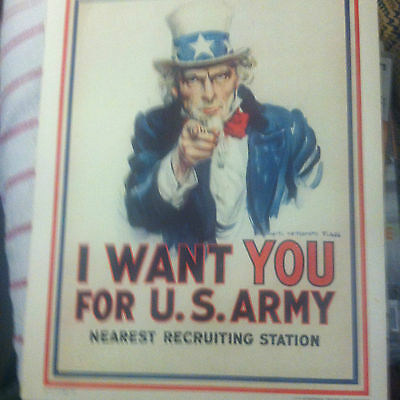 I Want You for U.S. Army Recruiting Command Poster Vtg White 1981