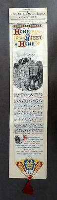 1893 Woven Silk Bookmark - HOME, SWEET HOME / with Tassel on Original Card
