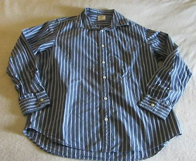Men's Old Navy Gray with Blue Stripes Dress Shirt Size Large L