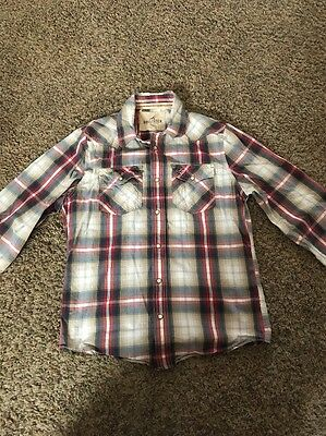Hollister Men's Size L Long Sleeve Button Down Plaid Shirt Red Blue White Gold