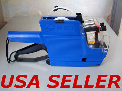 2 line Price Label Gun MX-6600 with 14 rolls ( 6500 )  labels &  1 ink roller