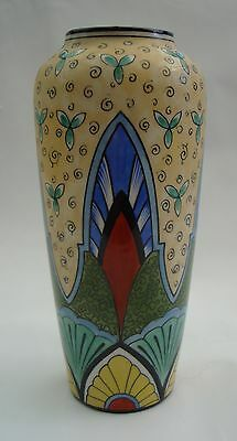 Rare Vase Ancien  Art Deco Porcelaine Paris Decor Polychrome Dupont Desfontaines