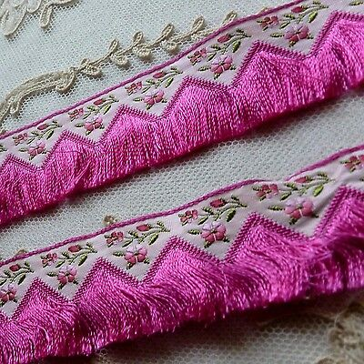 Vintage French Ombre Flowers and Fringe Trim