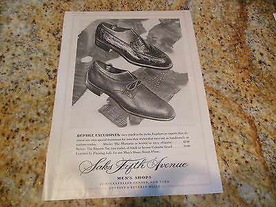 Original Vintage 1953 Saks Fifth Avenue Reptile Alligator Lizard Men's Shoes Ad