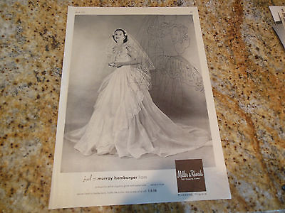 Original Vintage 1951 Murray Hamburger Organza Wedding Bridal Bride Gown Ad
