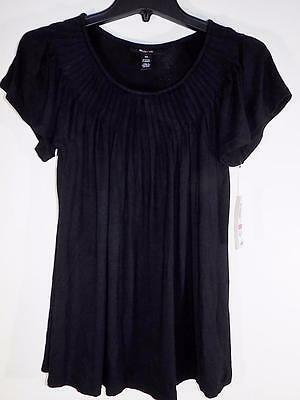 Style&co. Women's Black Pleated‑Neck Top Shirt  Size XS WT405