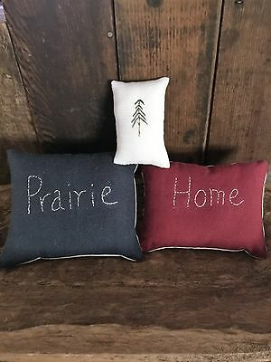 Primitive  Stitchery Bowl Filler Ornies Red White and Blue   America Set of 3