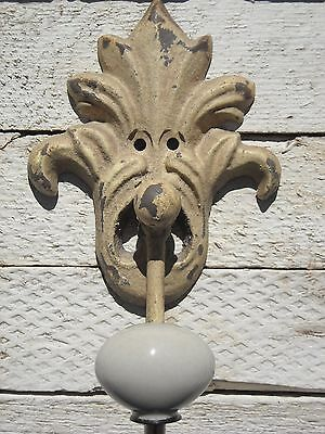 Shabby Chic Vintage Iron Hook in Distressed White - Fleur-de-Lis